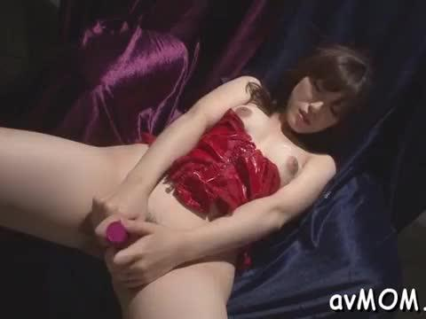 Sexy oriental mother in heels screwed and has stripped on sofa